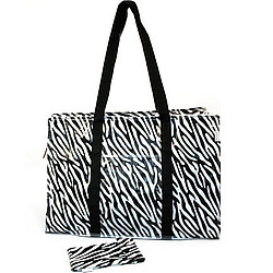 Zebra Tote with Sunglasses Case
