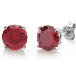 Sterling Silver Round Garnet CZ Solitaire Earrings