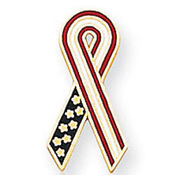 14k Yellow Gold Enamel American Flag Ribbon Lapel Pin