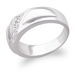 Sterling Silver Men's Cubic Zirconia Wedding Band