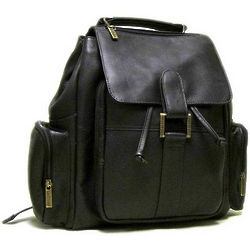 Medium Compartment Cafe Leather Backpack