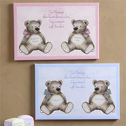 Baby Bear Personalized Twin Baby Canvas Wall Art