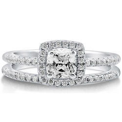 Sterling Silver Cushion Cut Cubic Zirconia Bridal Set