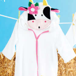 Baby Girl's Cow Terry Robe