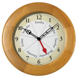 Day of The Week Wooden Clock