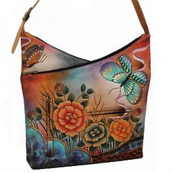 Hand Painted Leather Medium V-Top Hobo Bag