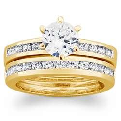 18K Gold Over Sterling Round Cubic Zirconia Wedding Set