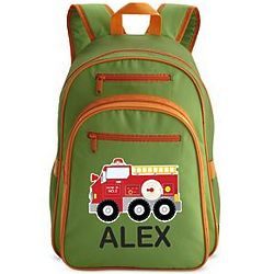 Green Personalized Fire Engine Large Backpack