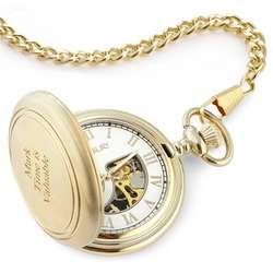 Brushed Gold Skeleton Pocket Watch
