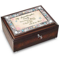 Personalized Music Box for Granddaughter with Poem Card