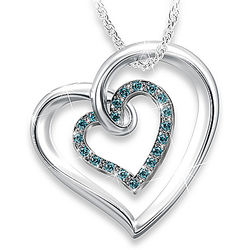 Always In My Heart Blue Diamond Necklace for Daughter