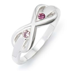 2 Stone Sterling Silver Infinity Birthstone Ring