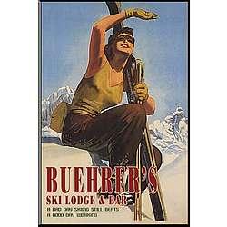 Personalized Vintage Ski Girl Pub Sign