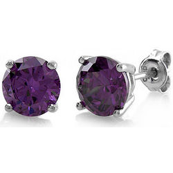Sterling Silver Round Amethyst CZ Solitaire Earrings