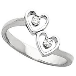 Two Birthstone Heart Promise Ring