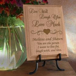 Personalized Live, Love, Laugh Wooden Plaque