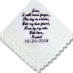 """Best Friend"" Personalized Bridesmaid Hanky"