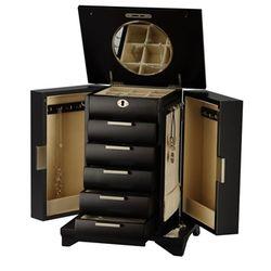 Tall Espresso Wood Jewelry Armoire with Locking Necklace Storage