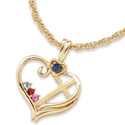 Mother's Birthstone Cross Heart Necklace