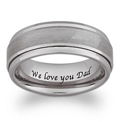 Tungsten Inside Laser Engraved Brushed and Polished Spinner Band