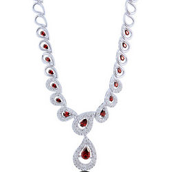 Garnet Cubic Zirconia Silvertone Halo Fashion Necklace