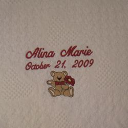Embroidered Bear & Flowers Personalized Baby Blanket