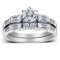 Platinum Plated 2.5 Carat Cubic Zirconia Wedding Set