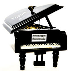 Personalized Grand Piano Christmas Ornament