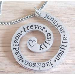Personalized Hand Stamped Aluminum Name Swirl Necklace