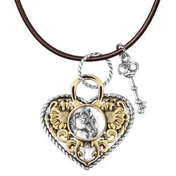 American West Mixed Metal Heart and Key Horse Necklace