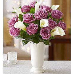 Purple Rose and White Calla for Sympathy