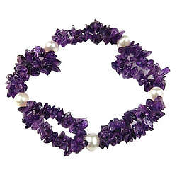 Amethyst and Pearl Bracelet in Silver