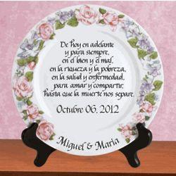 Personalized Platinum Rim Wedding Plate in Spanish