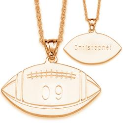 Engraved Football Pendant Necklace