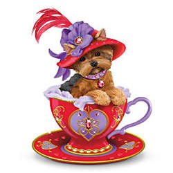 Infused with Red-Hot Personali-Tea Yorkie Teacup Figurine