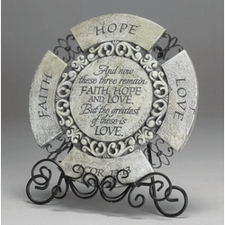 1 Corinthians Round Plaque with Stand