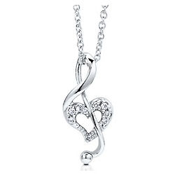 Sterling Silver Cubic Zirconia Heart Music Note Pendant
