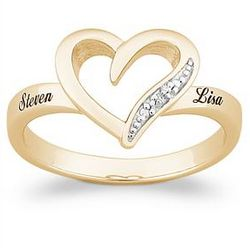 Diamond Heart Name Promise Ring