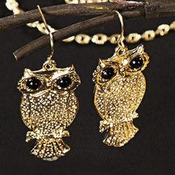 Goldtone Owl Earrings