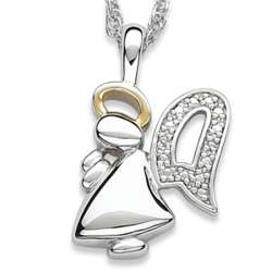 Two-Tone Angel Necklace with Diamond Accents