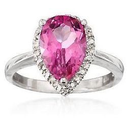 Sterling Silver 3.90 Carat Pink Topaz Ring with Diamonds