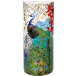 Grand Peacock Hand-Blown Glass Vase