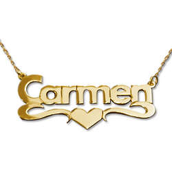 14 Karat Gold Print Heart Name Chain Necklace