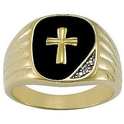 Personalized Men's Black Onyx and Diamond Cross Ring