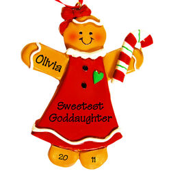 Sweetest Goddaughter Gingerbread Ornament