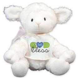 Boy's Personalized God Bless Lamb Stuffed Animal