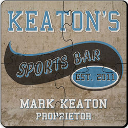 Sports Bar Personalized Coasters Puzzle Set