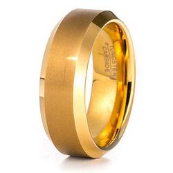 Men's Brushed Gold Tungsten Ring