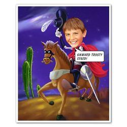 Personalized Zorro Caricature Art Print