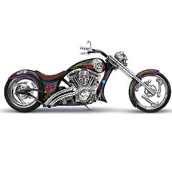 Skeleton Rider Sugar Skull Motorcycle Sculpture